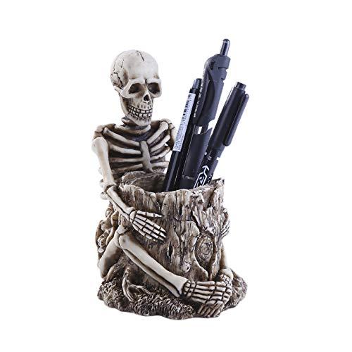 TWH Totenkopf-Stiftehalter, Make-Up-Pinselhalter, Totenkopf-Statue, Kunstharz, Aufbewahrungsbox, Totenkopf-Statue, Stifthalter, Schreibtisch, Wandmontage, Kunstharz, Aufbewahrungsbox