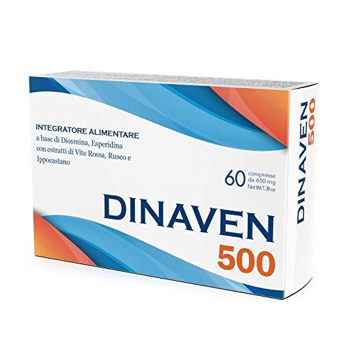 Integratore circolazione gambe e microcircolo Dulàc | 60 compresse per vene varicose, gambe gonfie e capillari rotti gambe | Diosmina Esperidina 500 mg, Vite rossa e flavonoidi | Dinaven 500