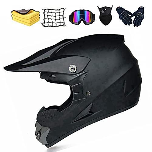 Motocross Helm Matte Schwarz, Herren Crosshelm mit Brillen Maske Handschuhe, Motorbike ATV MTB Freien Sport Motorcycle Helmet Set (XL (60-61cm))