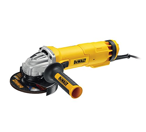 Dewalt DWE4237-QS DWE4237-QS-Mini-amoladora 125mm 1.400W 11.500 RPM Suave + Bloqueo y re-Arranque, 1400 W, 240 V, Negro/Amarillo, 125 mm