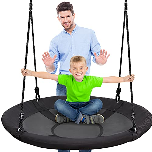 Outdoor Spinner Saucer Tree Swing - Hanging Tree Round Circular Flying Saucer in Rope Straps w/ Cushion Padded Metal Frame, Polyester Fabric Seat, Great for Kids, Adult - SereneLife SLSWNG100 , Black,