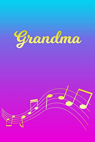 Grandma: Sheet Music Note Manuscript Notebook Paper – Pink Blue Gold Personalized Letter G Initial Custom First Name Cover – Musician Composer … Notepad Notation Guide – Compose Write Songs