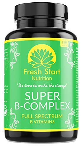 Super Vitamin B Complex - 180 Vegan Capsules Not Tablets (6 Months Supply) B Vitamins High Strength Vitamin B12, Plus B1, B2, B3, Folic Acid, B5, B6 & Biotin – Made in The UK by Fresh Start Nutrition