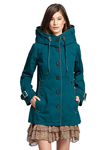 khujo Damen Jacke NUYDED2 Übergangsjacke aus Baumwolle mit Kunstlederpaspeln und großer Kapuze