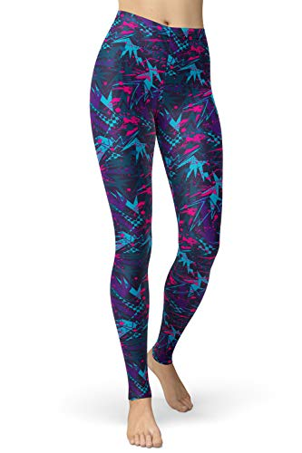 lulululucheri - Leggings largos para mujer, diseño de los años 80 Leggings de graffiti azules y lila. XX-Large