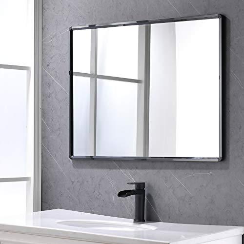 KAPHOME Espejo de Pared Grande Negro Marco Rectangular Espejos 60x80 cm Montado en la Pared Espejo para Cuarto de Baño Salón Moderno Metal BM01E