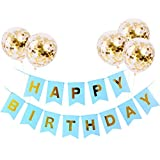 DIWULI, Geburtstagsdeko-Set, Happy Birthday Girlande blau zum Aufhängen + 5 Konfetti Latex-Ballons Gold Geburtstag, Kindergeburtstag, Party-Deko, Deko-Set, Dekoration, Latex-Ballon, Latex-Luftballons
