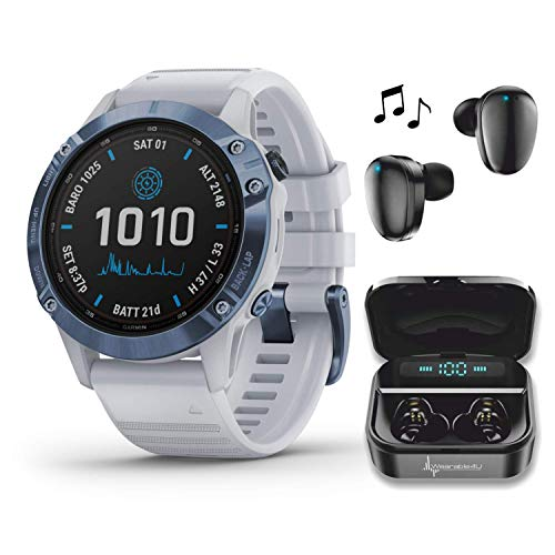 Garmin Fenix 6 Pro Solar Premium Multisport GPS Smartwatch with Included Wearable4U Ultimate Black Earbuds with Charging Power Bank Case Bundle (Mineral Blue w/Whitestone Band)