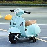 HOMCOM Moto Eléctrica Vespa para Niños de 18-36 Meses con Faro Bocina y 4 Ruedas Motocicleta Infantil con Licencia 66,5x38x52 cm Verde