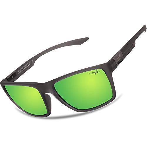 Fishing Polarized Sunglasses for Men Women Driving Running Golf Glasses Green Mirrored UV Protection Designer Style Unisex (rubberized crystal grey)