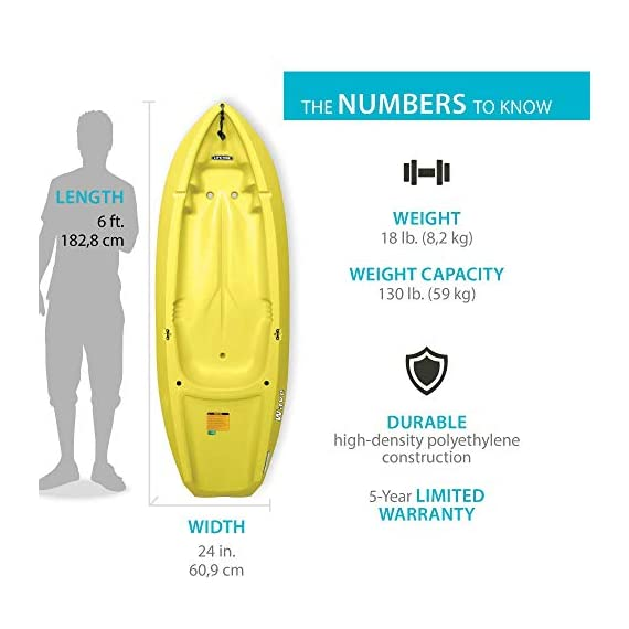 Lifetime 6 Foot Yellow Youth Kayak 4 Ergonomic cockpit design enhances balance and motor skills Molded finger handles on each side of the kayak Reverse chine for enhanced stability with swim-up step