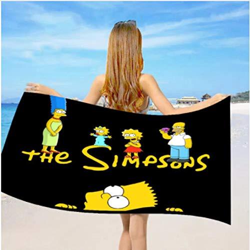 chinawh Dibujos Animados Anime Simpson Toalla de Playa Toallas de baño de Microfibra para niños Adultos Regalo Toallas de Secado rápido Toalla de Ducha Big Beach Yoga Mats 70X140cm