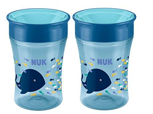 *NUK 10255331 Magic Cup 250ml mit Trinkrand, Motiv Wal, blau, 2er Pack (2 Stück)*