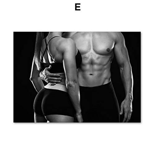 yhyxll Sexy Man Girl Gym Fitness Poster HD Print Modern Home Decor Canvas Painting Wall Art Pictures for Living Room Decor-60x90cm Sin Marco