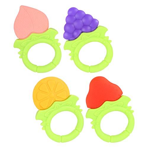 Kisangel 4 Stück Baby Obst Beißring Spielzeug Natürliche Bio Gefrierschrank Sicher für Säuglinge Und Kleinkinder Silikon Baby Beißring