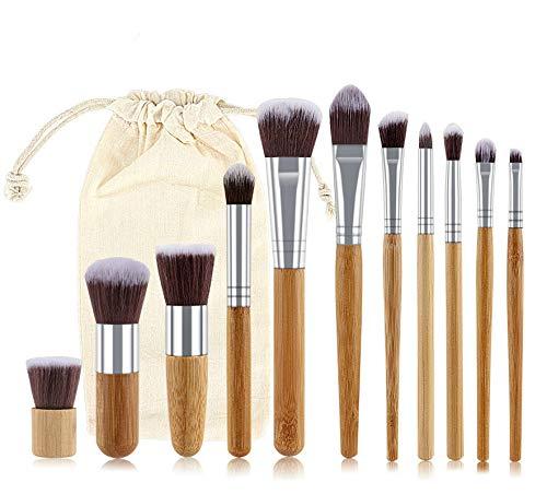 11pcs en Bambou Naturel Poignée de Maquillage Pinceaux de Haute qualité Fondation Blending cosmétiques Make Up Tool Set avec Sac en Coton (Handle Color : WithBag)
