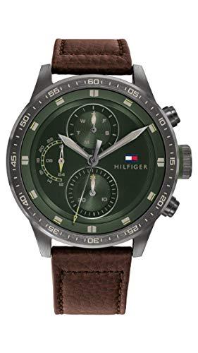 Tommy Hilfiger Reloj Analógico para Hombre de Cuarzo con Correa en Piel de Becerro de Cuero 1791809