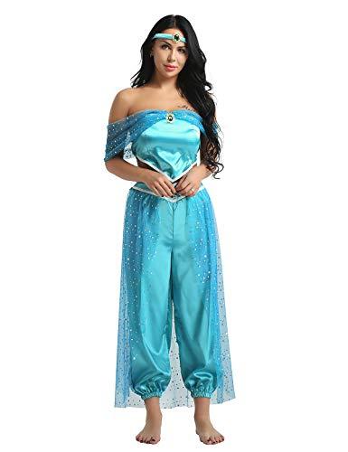 MSemis Disfraz Princesa Jazmín para Mujer Cosplay Lámpara Aladino Traje Princesa Árabe Turquía India Conjunto Danza Oriental Disfraz Carnaval Despedida Azul XXL