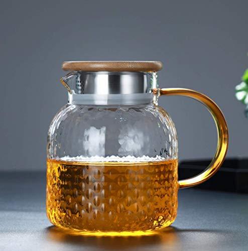 Botella de agua fría resistente al calor de gran capacidad martillo de grano de arroz botella de agua fría de vidrio olla de jugo espesa taza de agua fría para el hogar