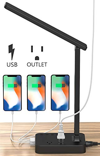 Drevet LED Desk Table Lamp with 3 USB Charging Port and 2 AC Power Outlet, 3 Color Model, 3 Level Brightness, Touch Dimmer Control,1h Timer, Memory Function,Eye-Caring Office Foldable Lamp,Night Light
