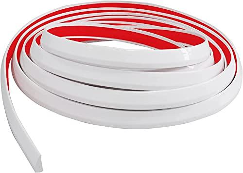 Neatiease Moldura de embellecedores, autoadhesiva, para bordes de azulejos, para cocina y baño, despegar y pegar, revestimiento de pared flexible (4,9 m), color blanco