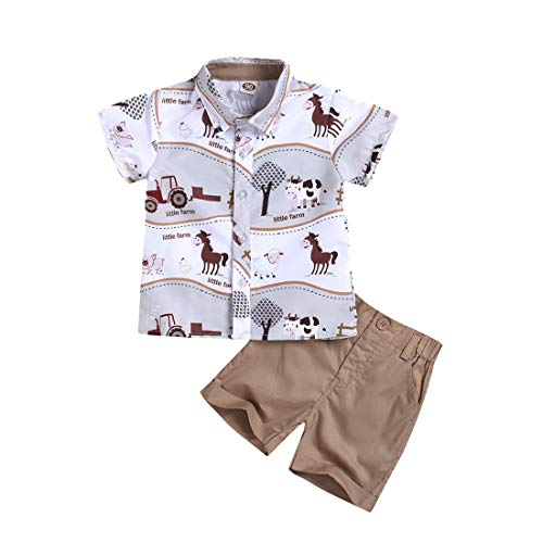 heavKin-Clothes 1-5Years Children's Kids Baby Boy Cartoon Animal Print Short Sleeve Shirt Tops + Solid Color Shorts Gentleman Blouse Suit (White, 3-4 Years)