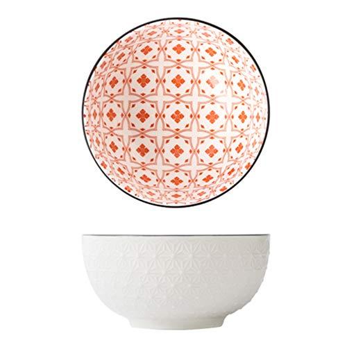 YSJSPOL Plato de Cena 6 Pulgadas de tazón de cerámica patrón de Alivio Fideos de Fideos de arroz Postre vajilla en Relieve Antideslizante (Color : 16, Diameter : 6 Inch)