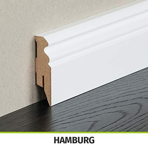 HORI® Sockelleiste weiß foliert RAL 9016 I MDF-Kern Fußleiste I Hamburger Profil I Höhe: 58 mm