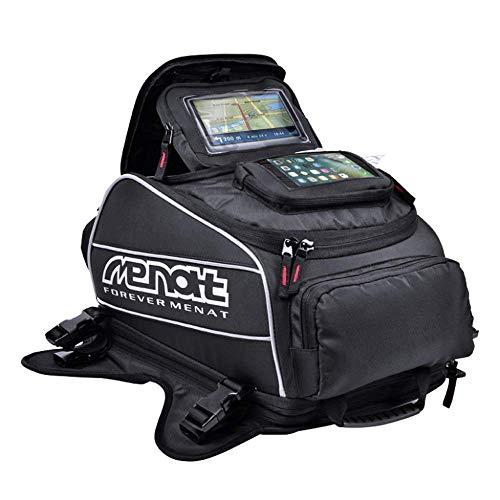 WOSAWE Motorrad Öl Tank Tasche Wasserdichter Magnetischen Sattel Motorrad Tankrucksäcke GPS (Schwarz 36-55 Liter Stauraum)