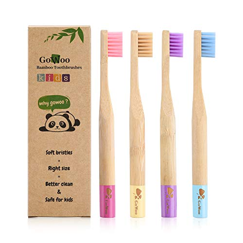 GoWoo 100% Natural Bamboo Toothbrush Soft (PACK OF 4, KIDS, Rainbow)