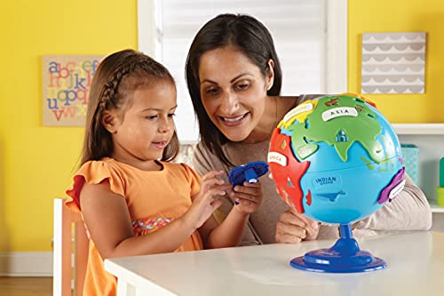 Learning Resources Puzzle Globe, 3-D Geography Puzzle, Fine Motor, Easter Games, Easter Gifts for Kids, 14 Pieces, Ages 3+
