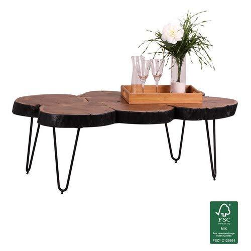WOHNLING salontafel massief hout acacia 115 cm breed woonkamertafel design metalen poten landhuisstijl bijzettafel natuurproduct woonkamermeubelen unicaat modern massief houten boomstam