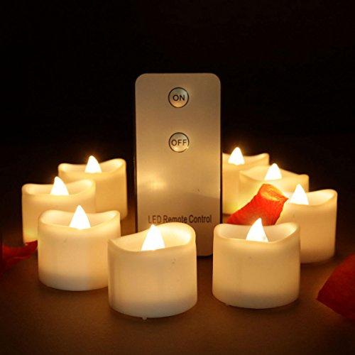 Advocator, lumini a LED senza fiamma, colore giallo, con telecomando, funzione luce tremolante, per matrimonio, Natale, casa, lumini votivi, decorativi, 12 pezzi 24 Remote Warm White
