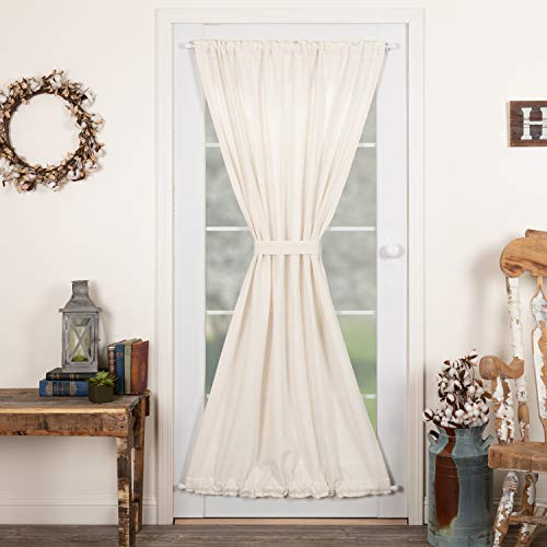 VHC Brands Burlap French Curtains Farmhouse Cotton in Antique Off-White for Patio Side Door Panel, 72x40