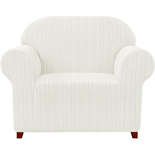 Subrtex - Funda para sillón elástico jacquard a rayas, funda de sofá de un plazo, antiarañazos, para gatos, perros, sofá protector lavable (1 plaza, color crema)