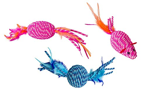 Ethical Pets Elasteeez Feathered Cat Toy Bundle: Ball, Roller, and Mouse in Assorted Colors