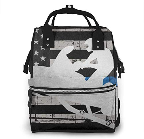 Thin Blue Line American Flag Platinum Snowmobile Diaper Bags Fashion Mummy Backpack Multi Functions Large Capacity Nappy Bag Nursing Bag for Baby Care for Traveling