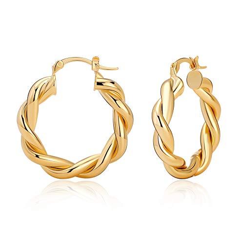 Orecchini a cerchio in oro intrecciato per donna Orecchini a cerchio grosso e spessi Orecchini vintage ipoallergenici grandi 30 mm