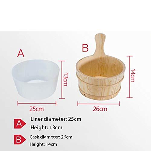 HSTFⓇ Saunakübel mit gefüttertem Saunakübel aus Naturholz. Zubehör für die Sauna