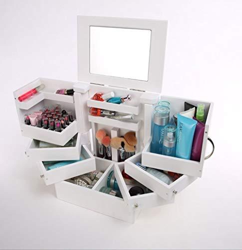 VBARV Desktop Makeup Organizer, Schmuckaufbewahrung mit Spiegel und Tablett entfernen, 7 Schichten Kosmetikaufbewahrungseinheit mit großer Kapazität, Für Kommode, Schlafzimmer, Badezimmer
