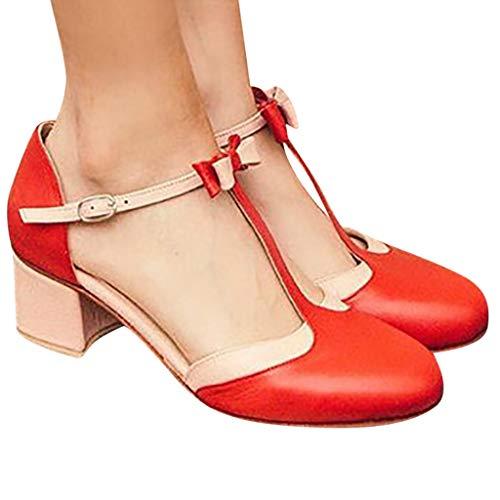 2019 Verano Primavera Zapato De Tacón Ancho, Mujer Bailarinas De Fiesta Sandalias Romanas De Vestir Zapatillas Bombas Zapatos De Talla Grande 35-43 EU(Rojo, 39 EU)