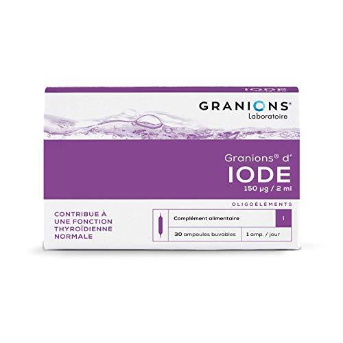 Granions d'Iode - Troubles de la thyroïde - 30 ampoules = 1 mois - Contribue à une fonction thyroïdienne normale - Iode 150 µg - Marque française