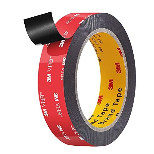 Dubbelzijdige tape acrylschuimtape, zware industriële montage, waterdichte tape, 16 FT lengte, 0,99 inch breedte voor LED-stripverlichting, auto-decoratie, woondecoratie en kantoordecoratie