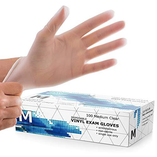 Powder Free Disposable Gloves Medium -100 Pack -Clear Vinyl Medical Exam Gloves