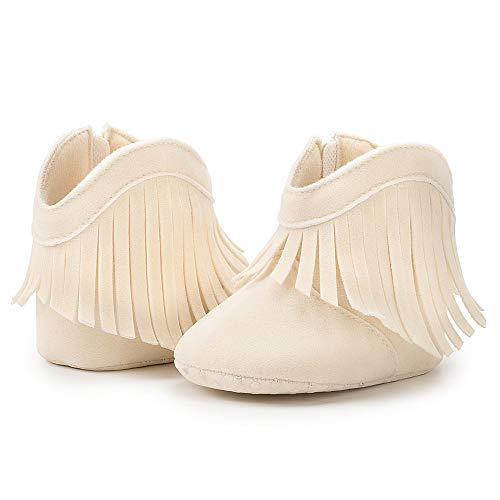 BiBeGoi Baby Girls Cowboy Tassel Boots Side Zipper Moccasins Soft Bottom Non-Slip Newborn Toddler Prewalker Winter Warm Crib Shoes
