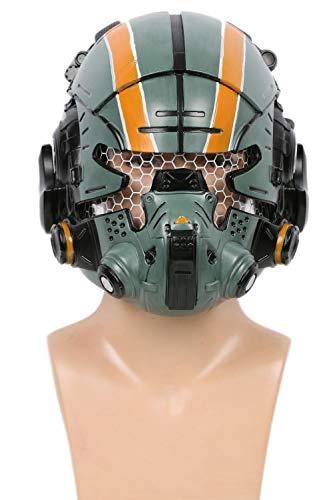 Coslive Halloween Helm Deluxe Grün Harz Maske mit LED Spiel Cosplay Kostüm Requisit für Herren Verrücktes Kleid Zubehör
