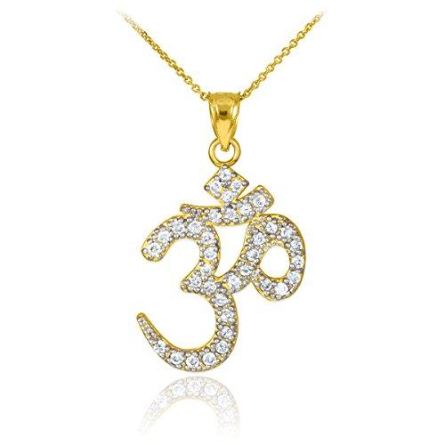 Little Treasures - 14 ct Gold Om CZ Pendant Necklace