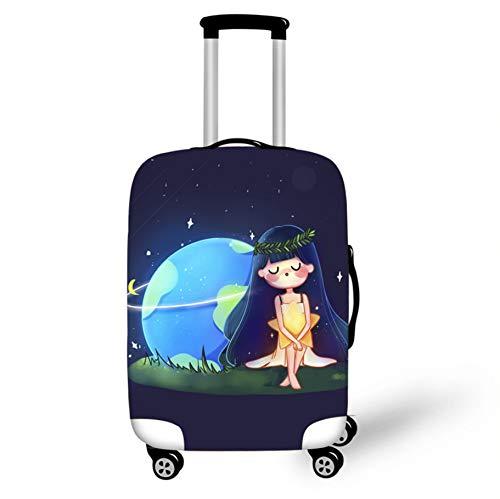 Equipaje Maleta Funda Protectora Chica De Dibujos Animados Inicio Viaje Trolley...