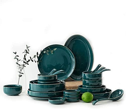 Juego de Platos, Conjuntos de Cena de cerámica, Platos/Cuencos/cucharas |Conjunto de vajilla de patrón de rímito de Oro Verde, Conjunto de combinación de Porcelana de Estilo Minimalista nórdico, 3