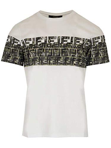 Luxury Fashion | Fendi Heren FAF532ABTSF0QA0 Wit Katoen T-shirts | Lente-zomer 20